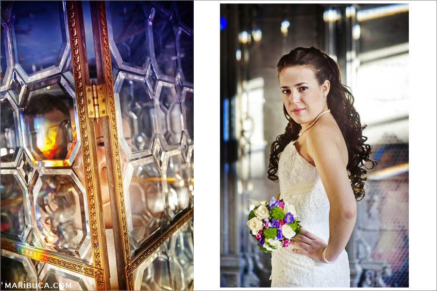 The bride and groom behind a glass transparent screen in the form of a mosaic iridescent rainbow colors. Portrait of a bride standing in profile in a white wedding dress.