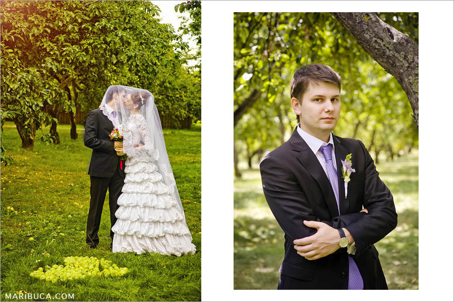 Bay Area park and the adorable newlyweds couple kiss each other and both cover the wedding veil. Portrait of the groom.