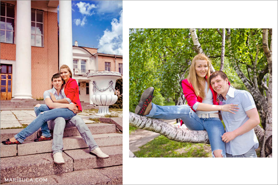 Engagement photo session where couple sitting in the stairs and trees. They are laughing and a having fun.