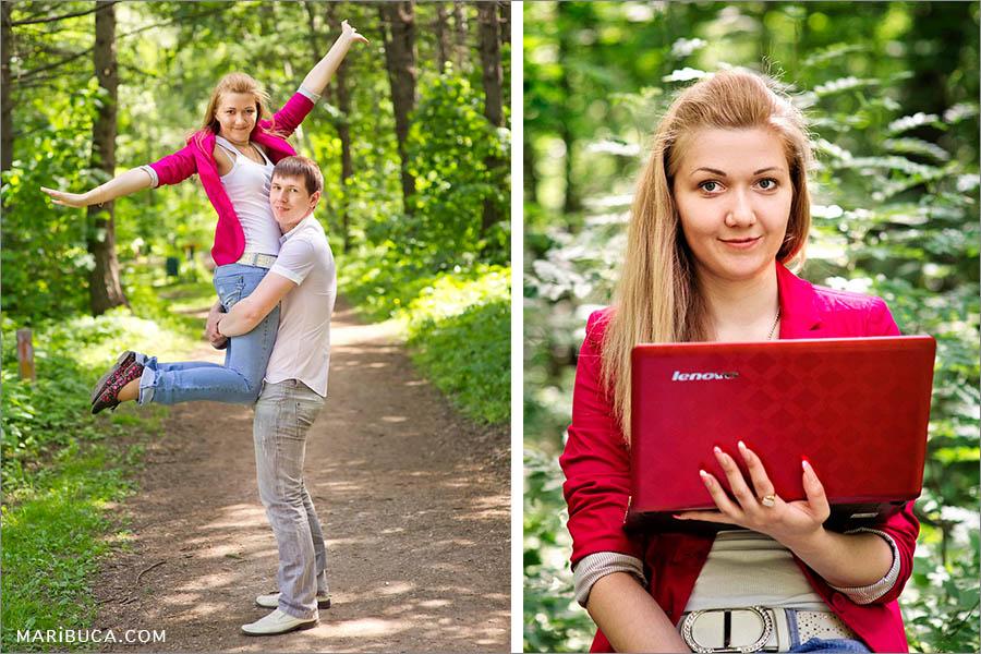 fiance-lifted-fiancee-portrait-fiance-sit-crimson-jacket-laptop