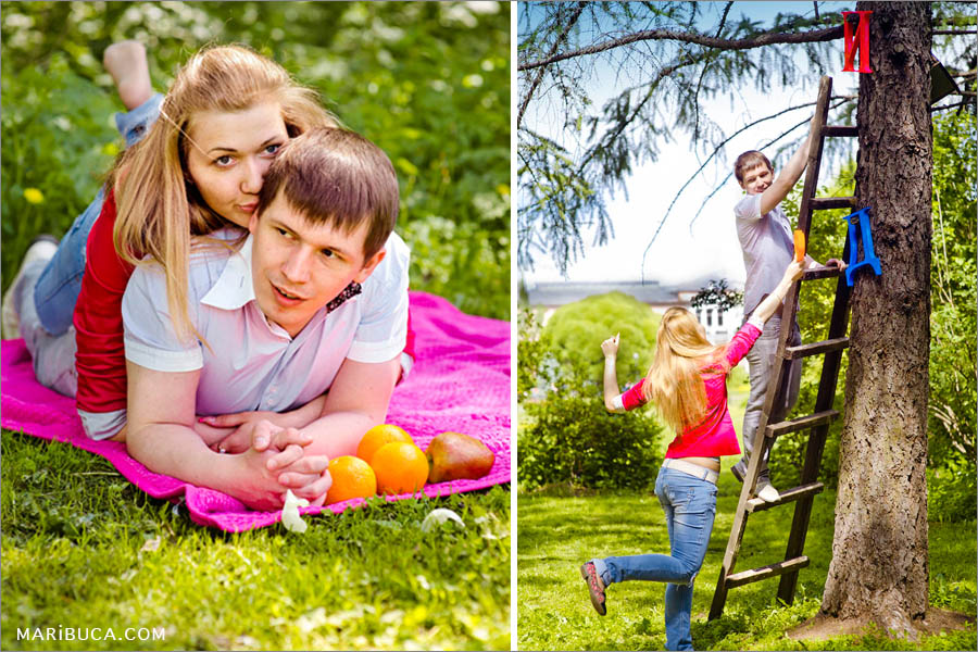 Fiance and fiancee lay down in the pink blanket and climb in the old stairs during the engagement photo session in the Vasona Park, Los Gatos.