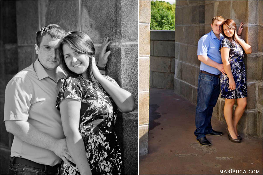 Couple during an engagement photo-session and light brown background in the San Jose, California