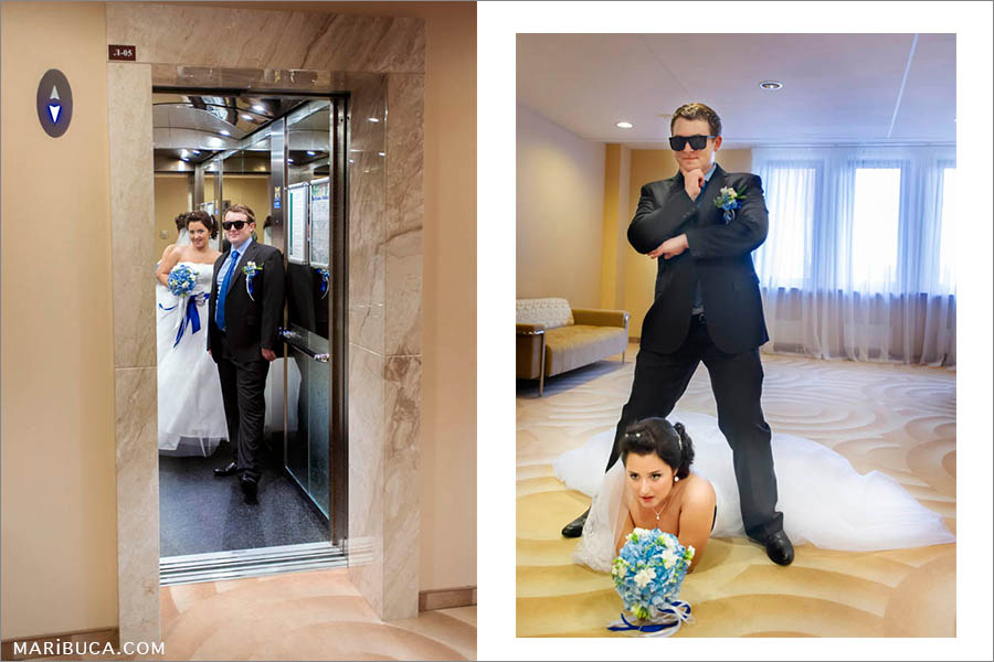 The bride and groom show gangster style. The bride lay down in the hotel's floor and the groom stands under the gorgeous bride in the Hilton, Santa Clara