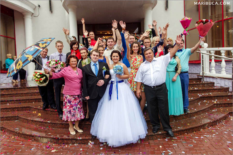 Guests and newlyweds excited after wedding ceremony in the City Hall, San Jose