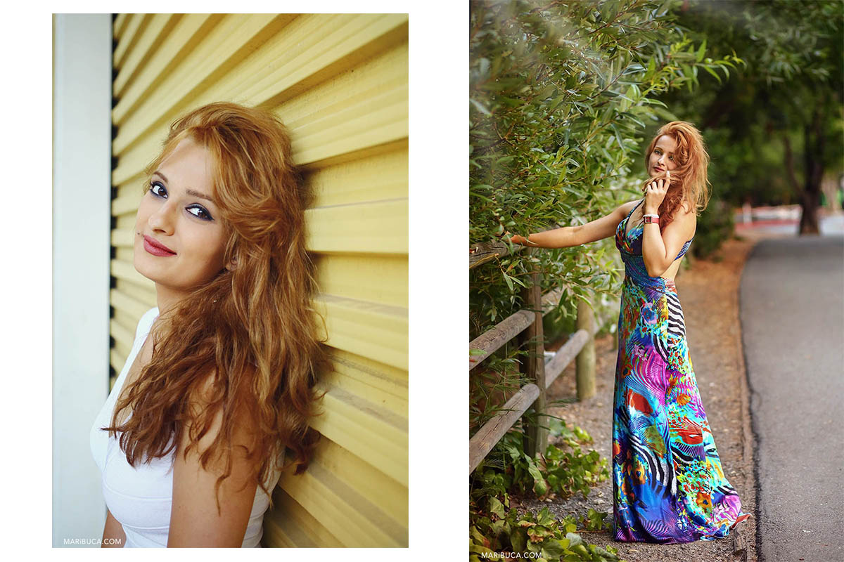 Portrait of the woman with red long hair and white blouse in the yellow background. The girl is standing in the full length with colorful dress, touching her red hair in the green background of the nature.