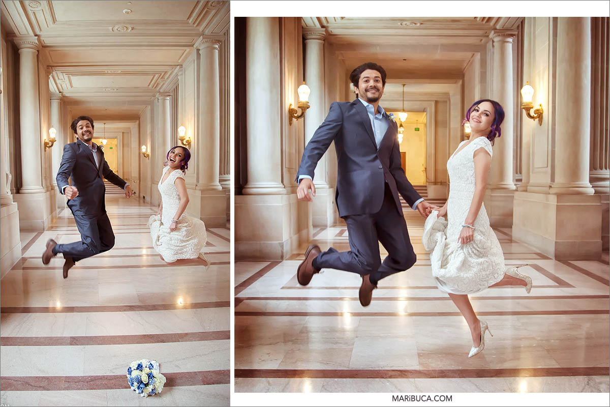The bride and groom have fun and jump after wedding ceremony in the San Francisco City Hall.