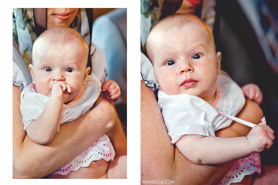 The portrait the baby girl in the church