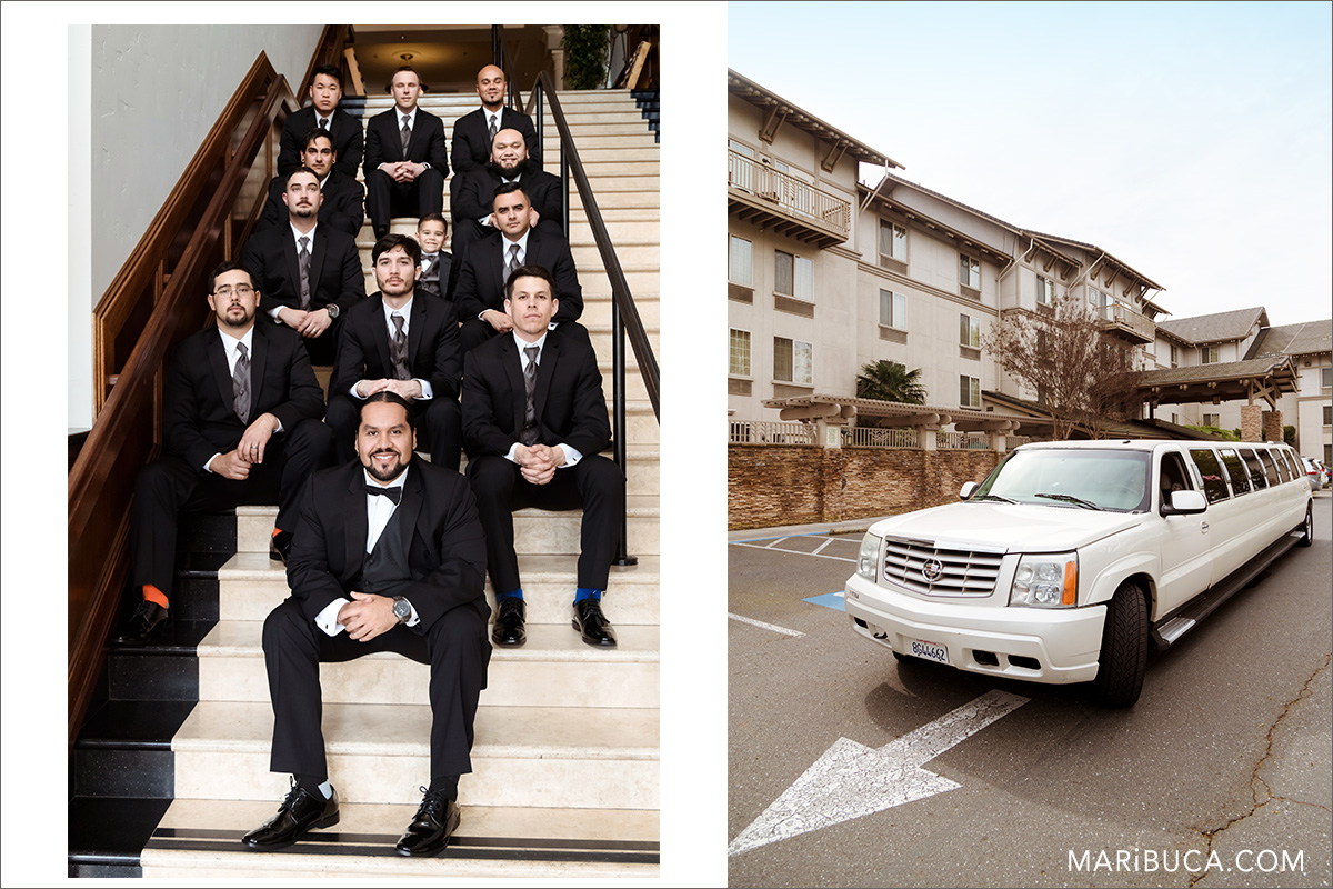Photo session for groom and groomsmen in the Villa Ragusa