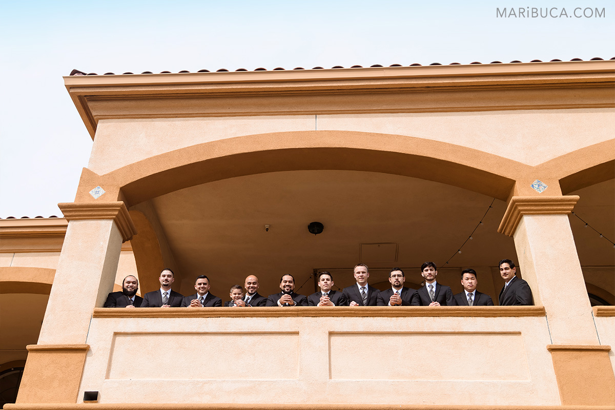 Photo session for groom and groomsmen in the Villa Ragusa restaurant, Campbell