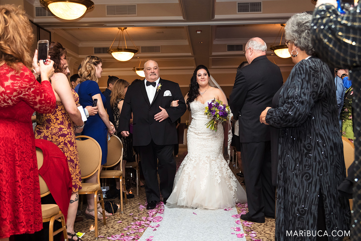 Dad walks daughter down aisle on wedding day in the Villa Ragusa