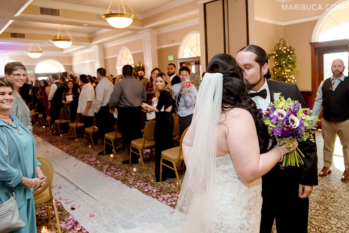newlyweds couple after wedding in the Villa Montalvo Saratoga