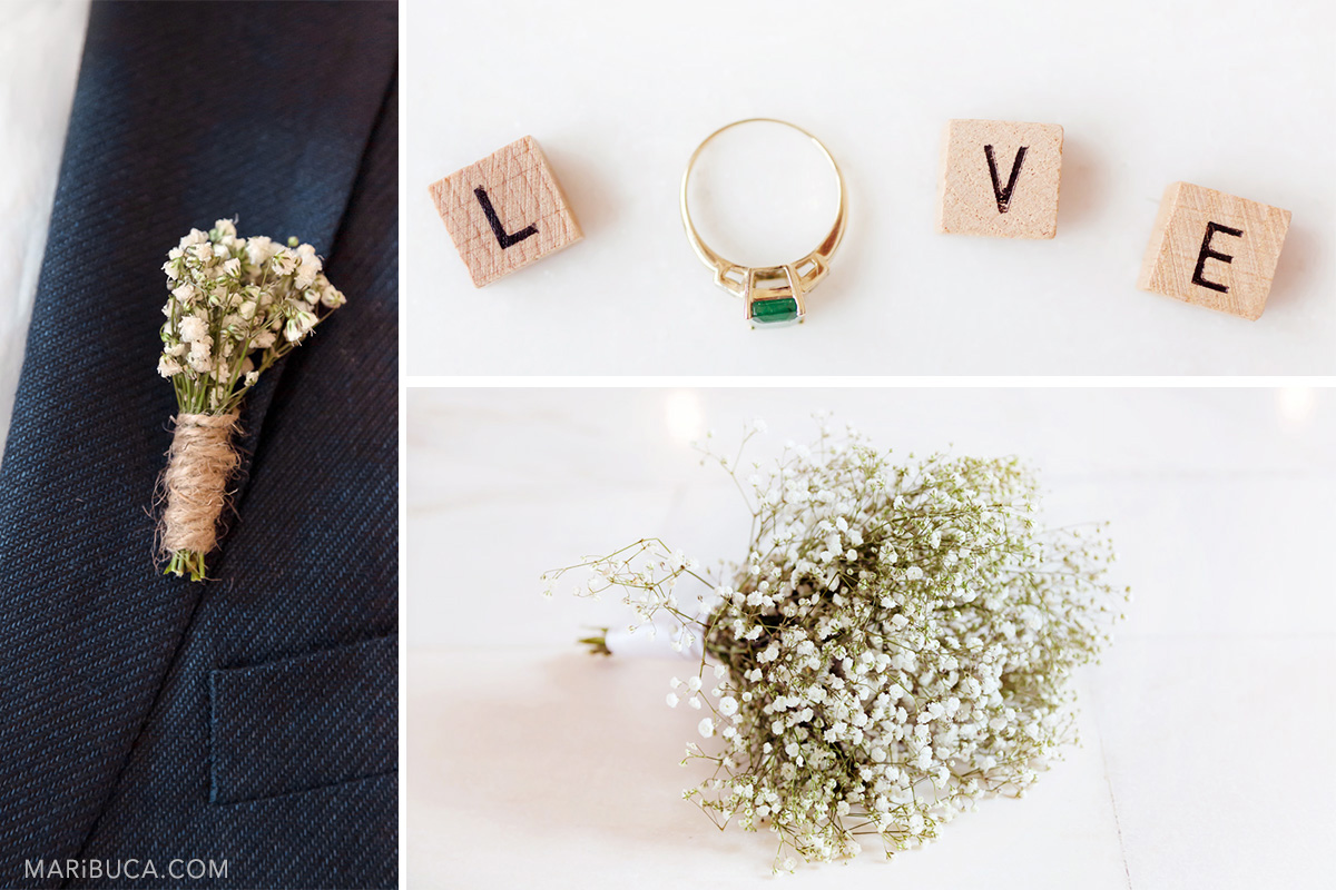 Wedding details: part of the blue man's with cute white flower boutonniere, wooden letters with sign Love and the engagement ring with green stone and the cuter wedding bouquet.