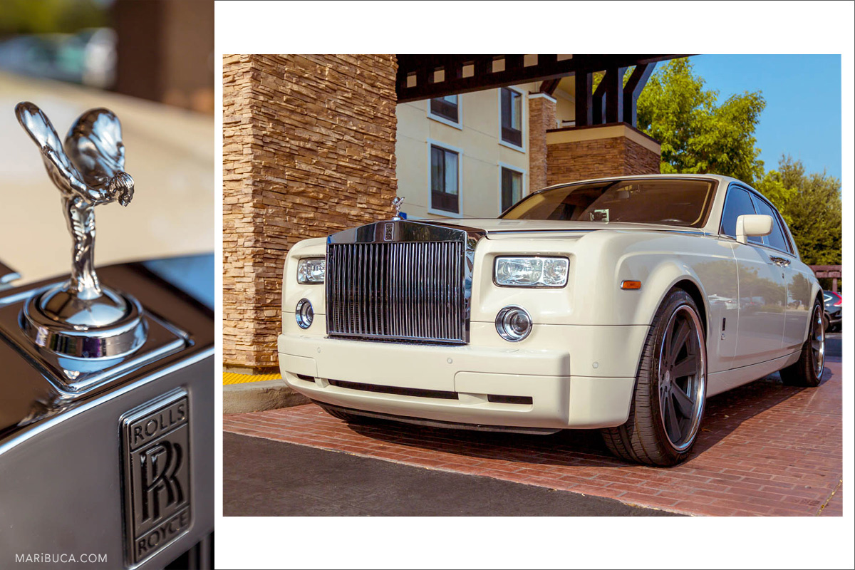 Wedding details: sign Rolls Royce with Flying Lady and almost white Rolls Royce limo near the hotel, Brentwood, Ca
