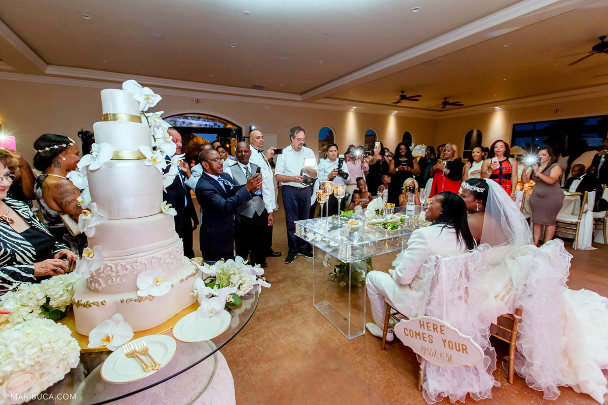 During the reception the guests are looking at the adorable newlyweds couple who sit down in the newlyweds table and huge 4 levels light pink wedding cake stands next to the bride and groom..