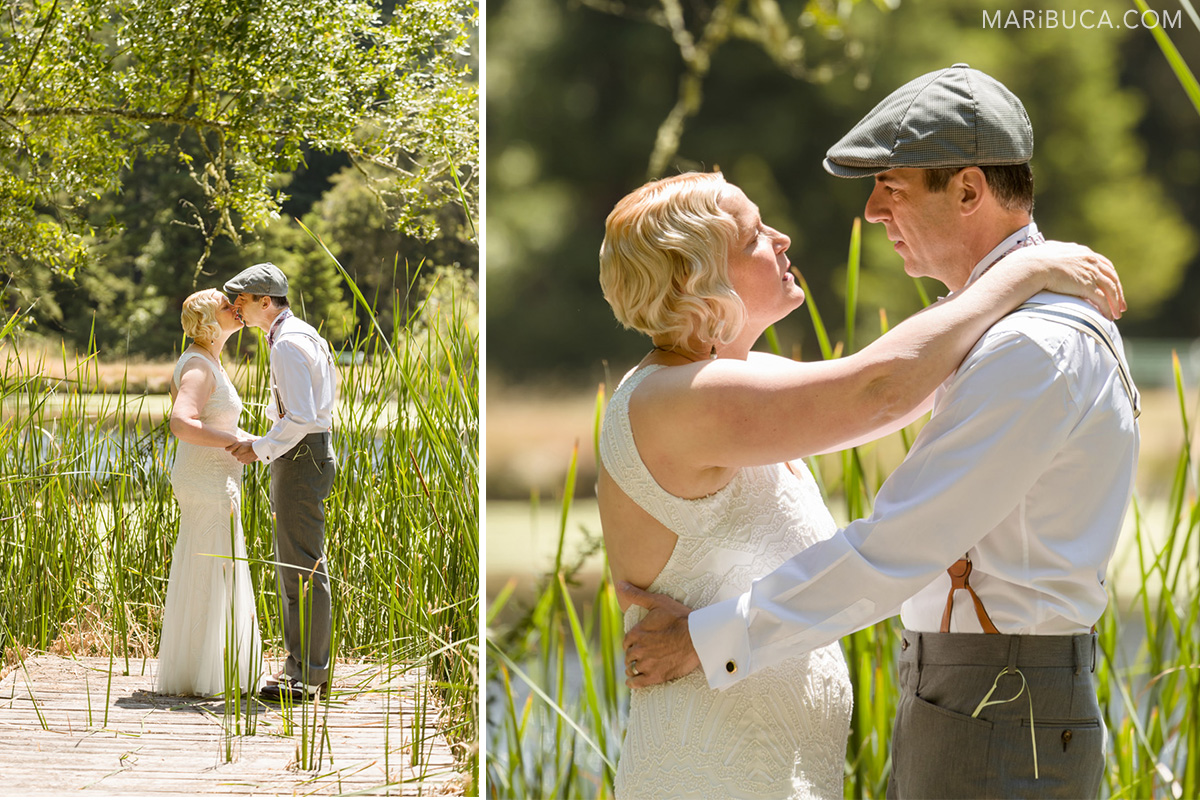 Cute pond and beautiful nature in Los Gatos during wedding photo-session. Newlyweds are looking and kissing each other in the Saratoga Springs with high grasses.