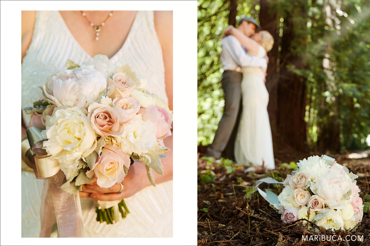 Wedding bouquet and wedding kiss, los gatos