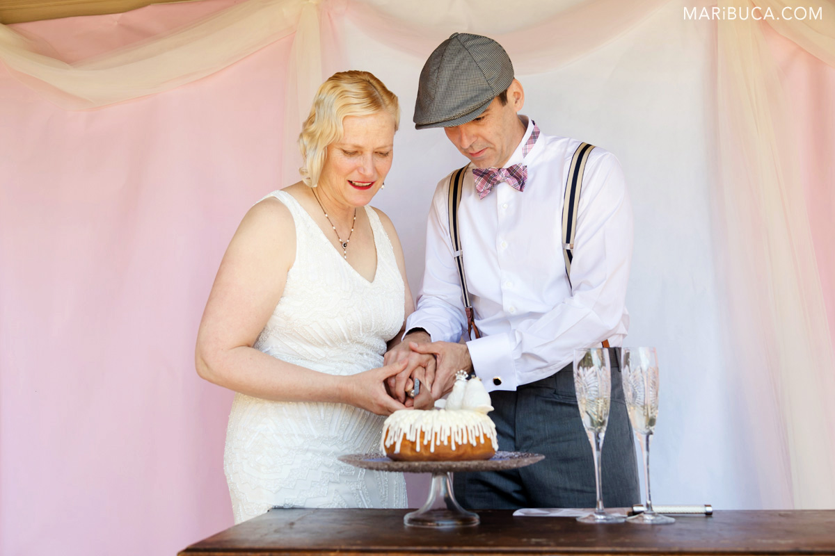 Newlyweds are cutting their first wedding cake with white two pigeons
