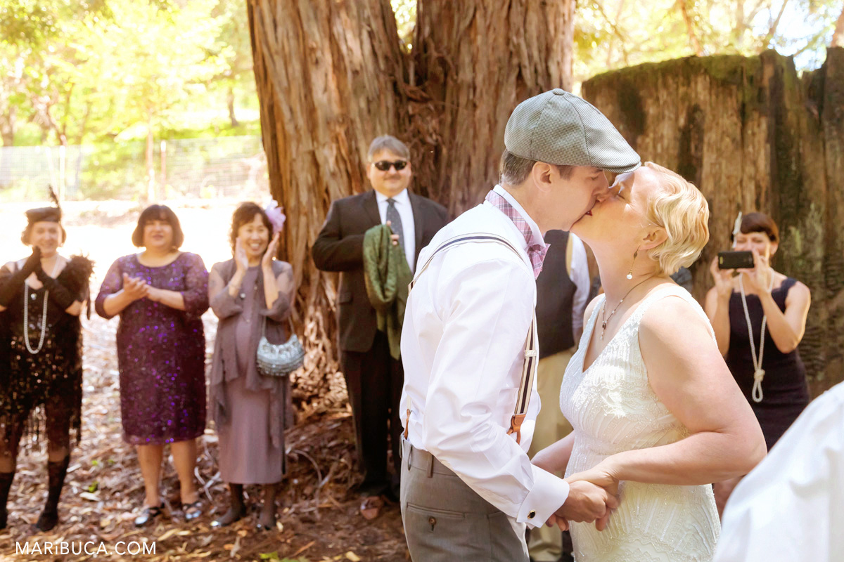 First kiss as married couple, guest excited and clap hands in the wedding ceremony, Saratoga Springs