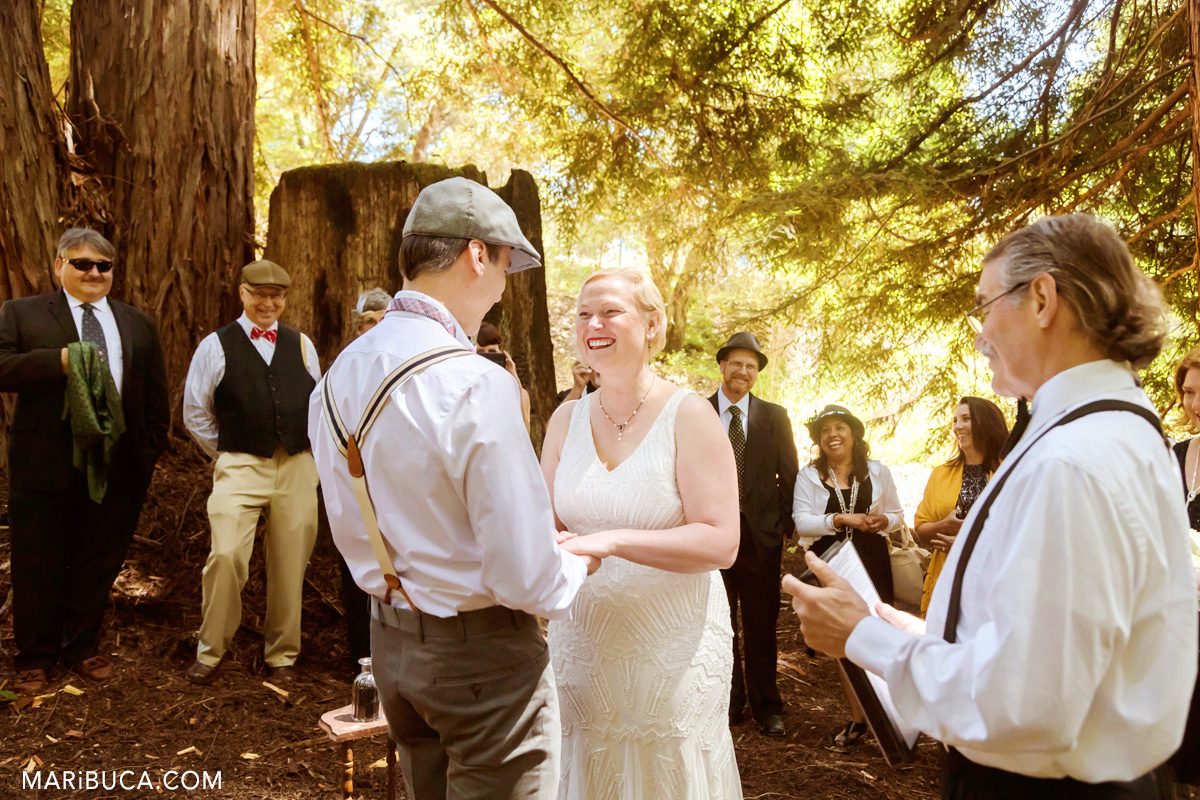 Sunny day in the pine forest during wedding ceremony in the California, Saratoga Springs.