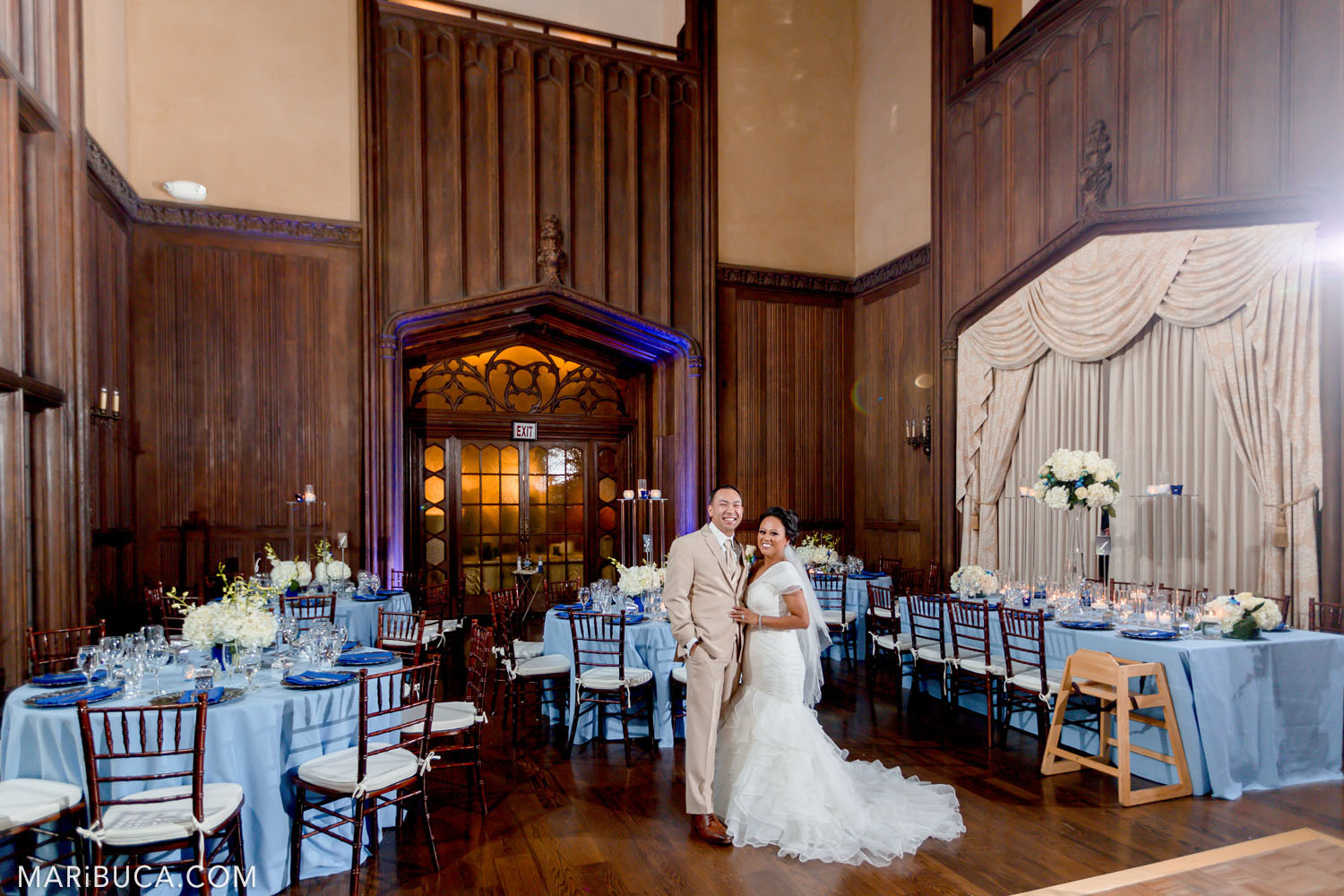 The bride and the groom enjoy each other in the Great Hall, Kohl Mansion, Burlingame