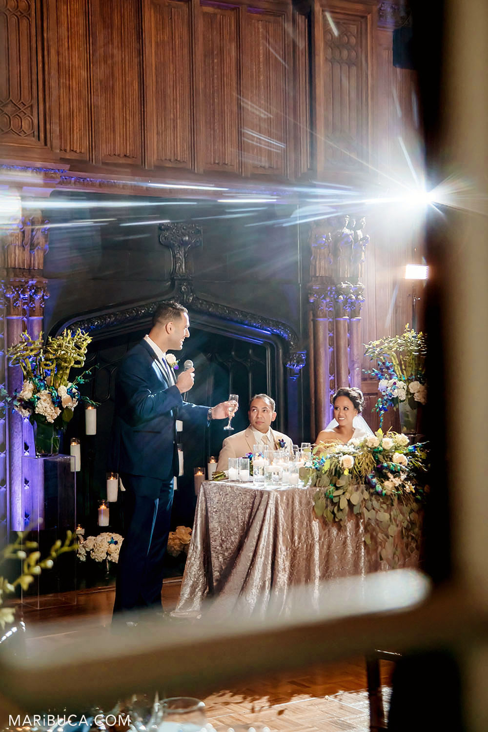 Best man toast for newlyweds couple in the Great Hall, Kohl Mansion, Burlingame