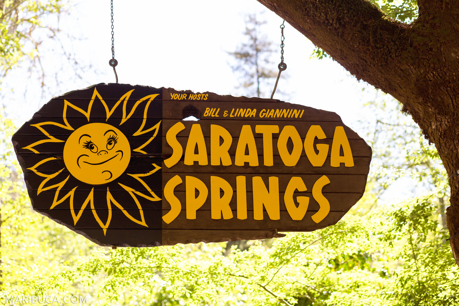 Saratoga Springs Venue Wedding yellow sign with the sun cartoon.