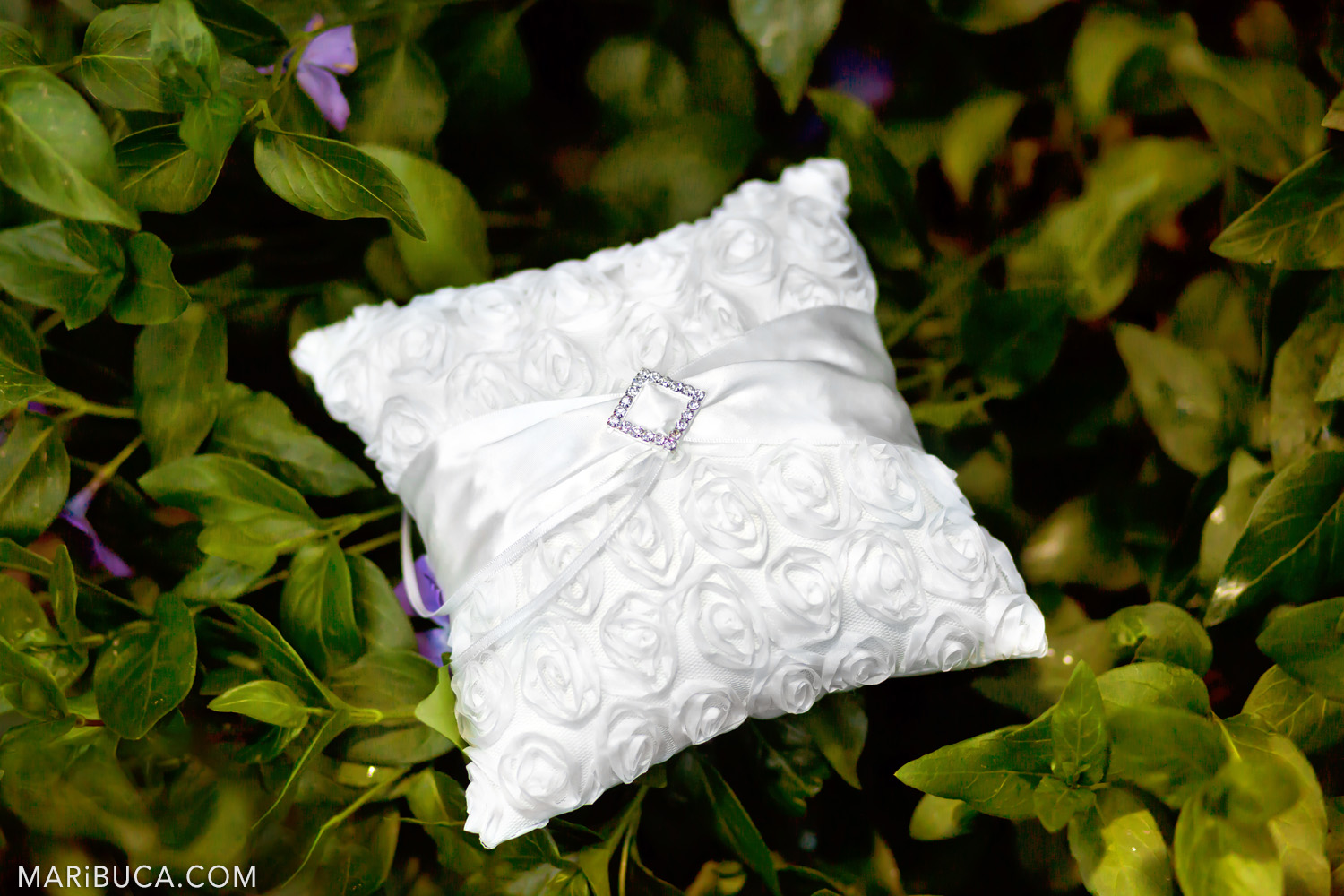 White wedding pillow for the wedding band surrounded yellow bushes in the in the Saratoga Springs Wedding