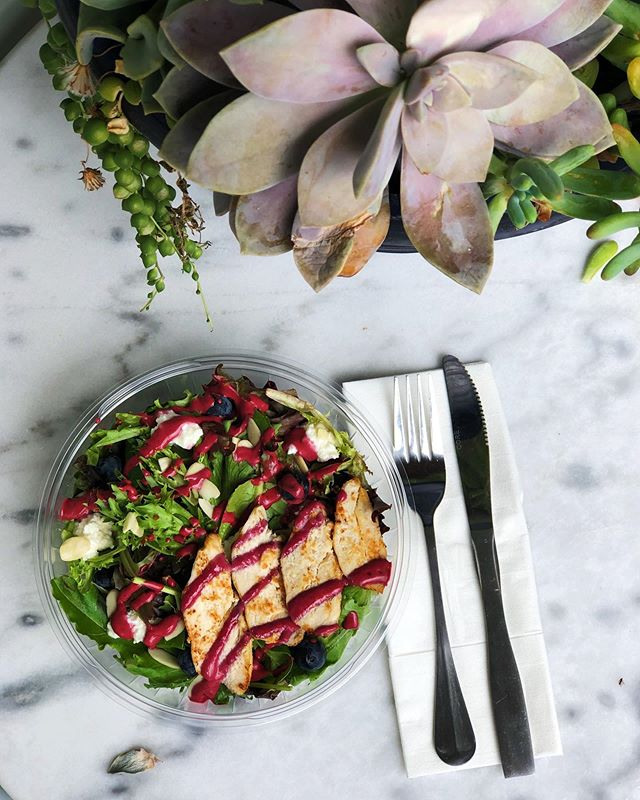 If you don't want a super rich lunch situation weighing you down in this heat, we've got you covered! We have an assortment of light and refreshing salads to choose from daily. Our berry chicken salad with lemon ricotta, blueberries, almonds, mixed greens, and berry vinaigrette is a crowd pleaser!