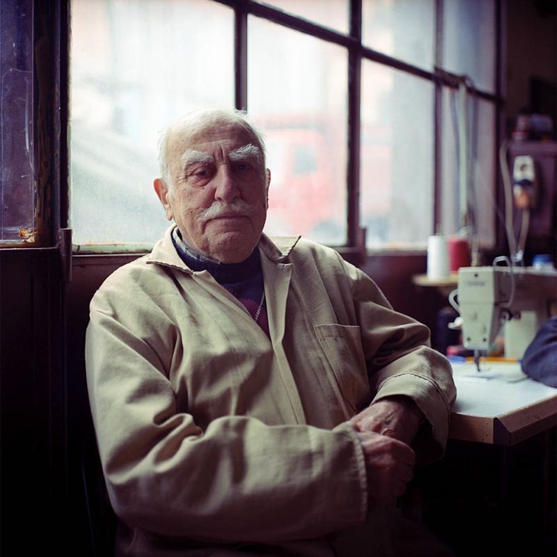 Josef, an Armenian man visiting an upholstery workshop.