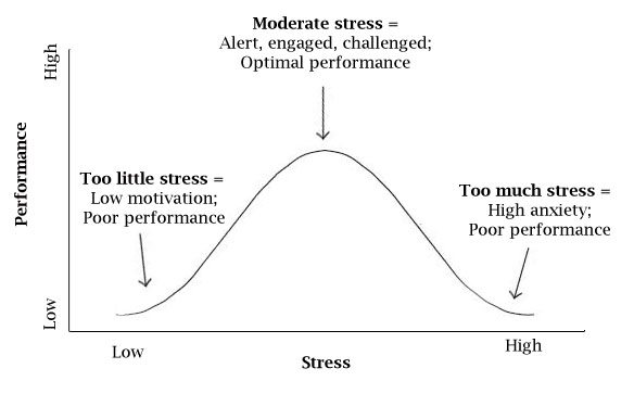 The Yerkes-Dodson law, showing the relationship between stress and performance