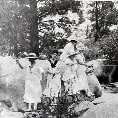 A lovely photo from our collection. . . Help us uncover Mammoth mysteries! The Southern Mono Historical Society hopes you can help identify some of the older photos in our collection. From the dress (and hats) of these fisherwomen can you help us determine the year this photo was taken? Send your answers to info@mammothmuseum.org. Mammoth Museum at the Hayden Cabin now open for the season, so stop by and check out our collection. Visit us at mammothmuseum.org