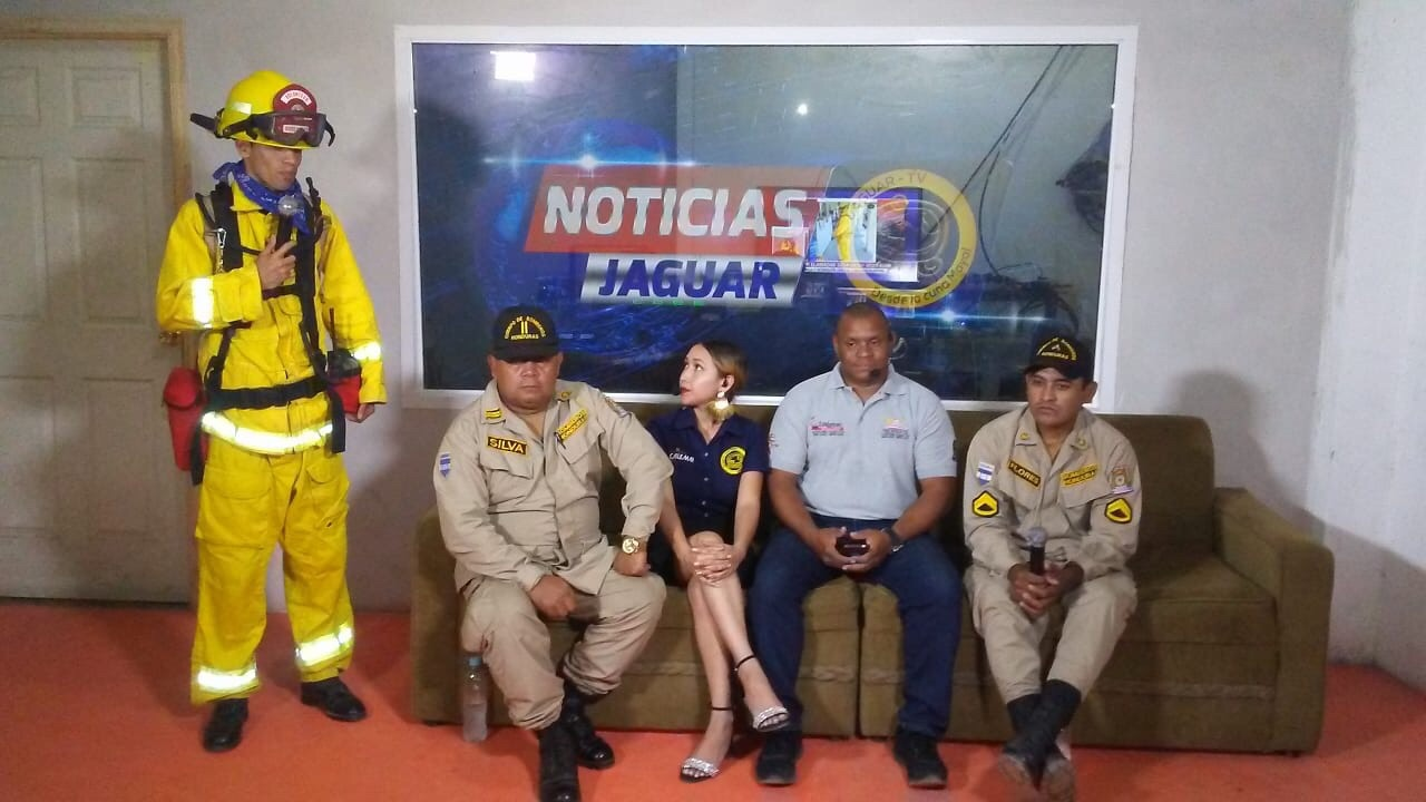 Firefighters from Copan Ruins speak on the news about the upcoming training to be conducted by Firefighters Without Borders California.