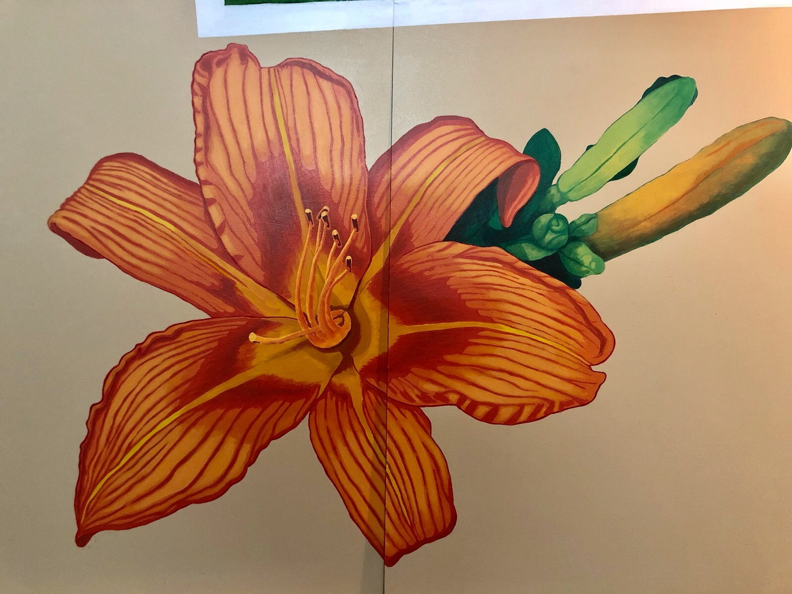 Day lilly, work in progress for a 36ft x 8ft mural installation