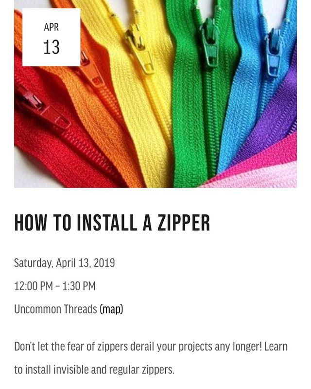 This Saturday! Zippers are big and scary for many people—let me de-mystify them for you! Register via the website (link in profile). 🌈 . #howtosew #zippers #seamstress #uncommonthreadschs #learntosew #sewingclasses #charleston #thingstodoincharleston #charlestonseamstress