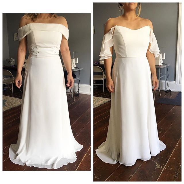This beautiful bride came to me with a vision of what her dress could be, and we made it happen! This is a great example of a practical and feasible design change. I removed the band around the top, scooped the neckline for a more flattering look, added flowy double flounce sleeves (with elastic gathering in the back to allow for hugs and dancing!), reinforced the bodice points to support the sleeves, shortened the bodice to meet the natural waist, and hemmed the front.  #charlestonseamstress #uncommonthreadschs #bride #bridalalterations #charlestonbride