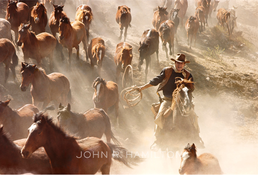 John Wayne rounding up horses for a scene in  Sons of Katie Elder  (1965). Image by John R. Hamilton, courtesy of John Wayne Enterprises