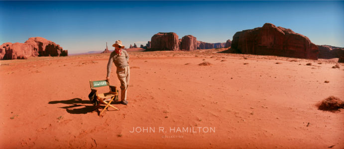 Director John Ford in Monument Valley on the set of  Cheyenne Autumn  (1964). Image by John R. Hamilton, courtesy of John Wayne Enterprises