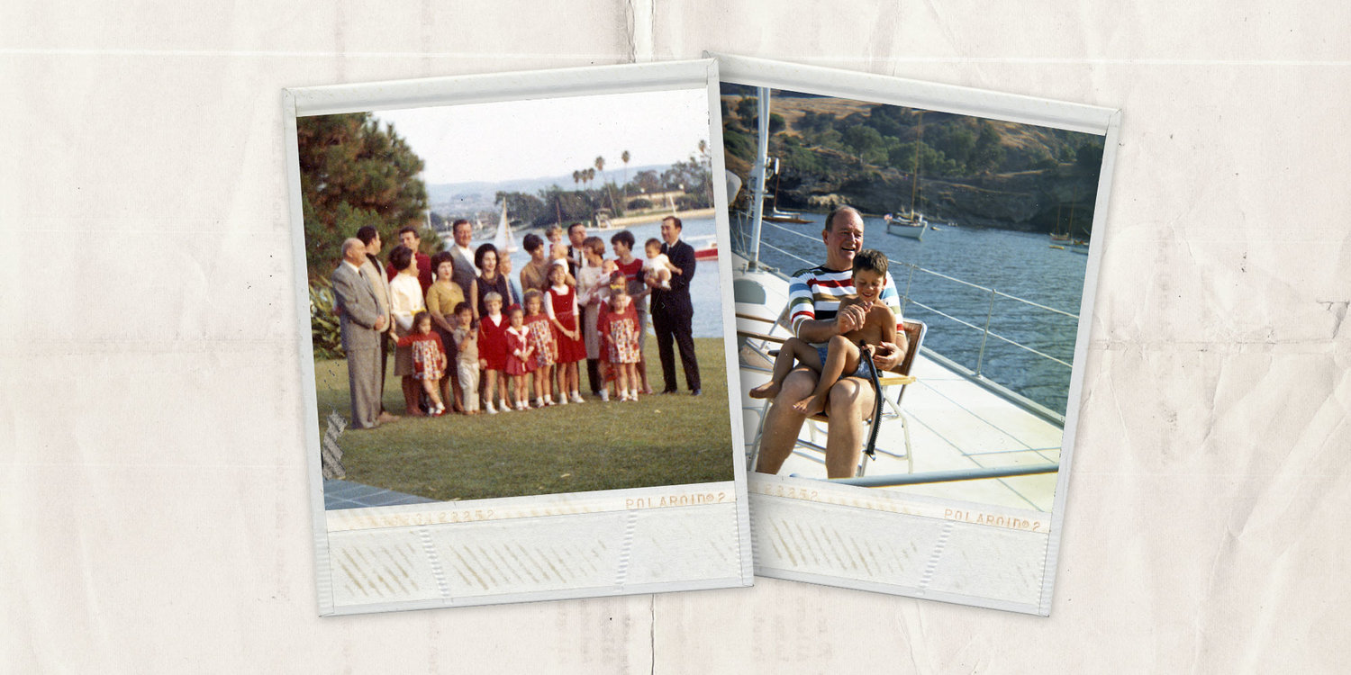 The Wayne Family at their home in Newport Beach, California, posing for their Christmas card photo in 1965. John Wayne and Ethan Wayne aboard the family boat the Wild Goose at Catalina Island, California, in the mid 1960's. Photos courtesy of John Wayne Enterprises