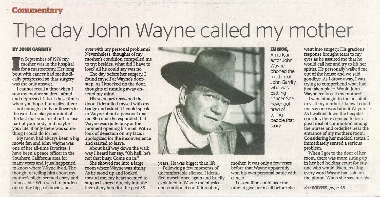 An excerpt from the  Daily Pilot  newspaper, dated January 30th, 2013. Photo courtesy of John Wayne Enterprises