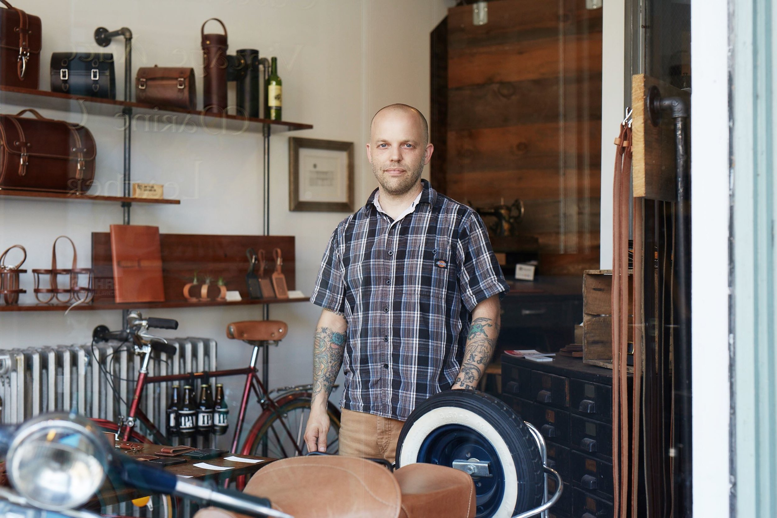 Born a craftsman, Jay Teske's talents led him from tattoo artist to  American Choppers  to the creation of Jay Teske Leather Co. Photo by Brandon Schulman.