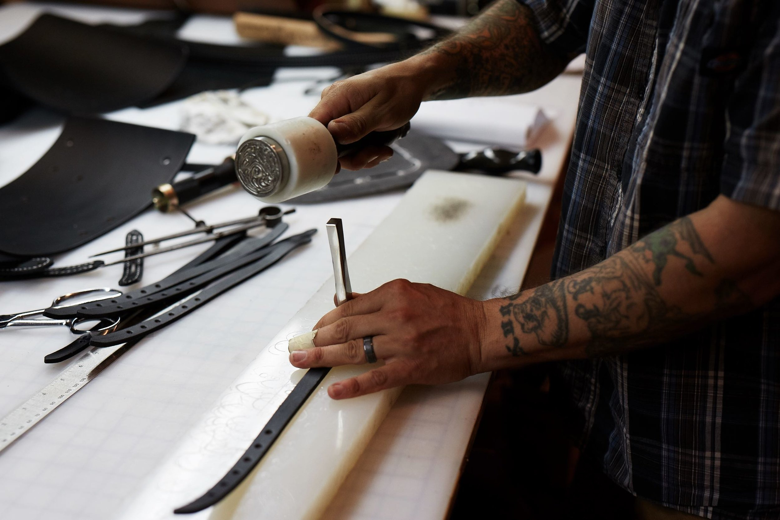 Jay Teske Leather Co. makes all of their products in their Kingston, New York workshop. Photo by Brandon Schulman.