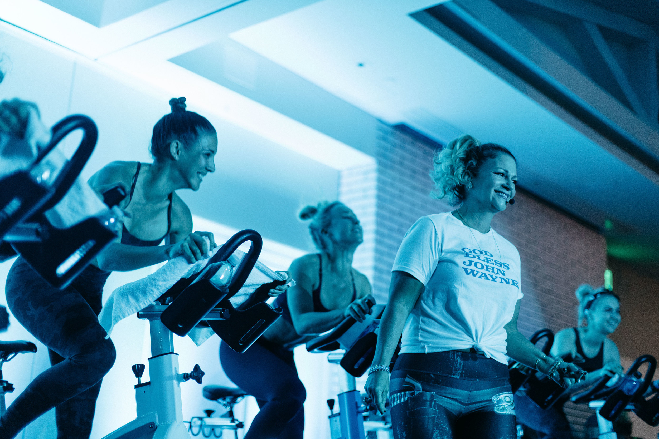 Energetic choreography and enthusiasm from the GritCycle instructors kept riders in motion during a three-hour cycle class to raise funds for the John Wayne Cancer Foundation.