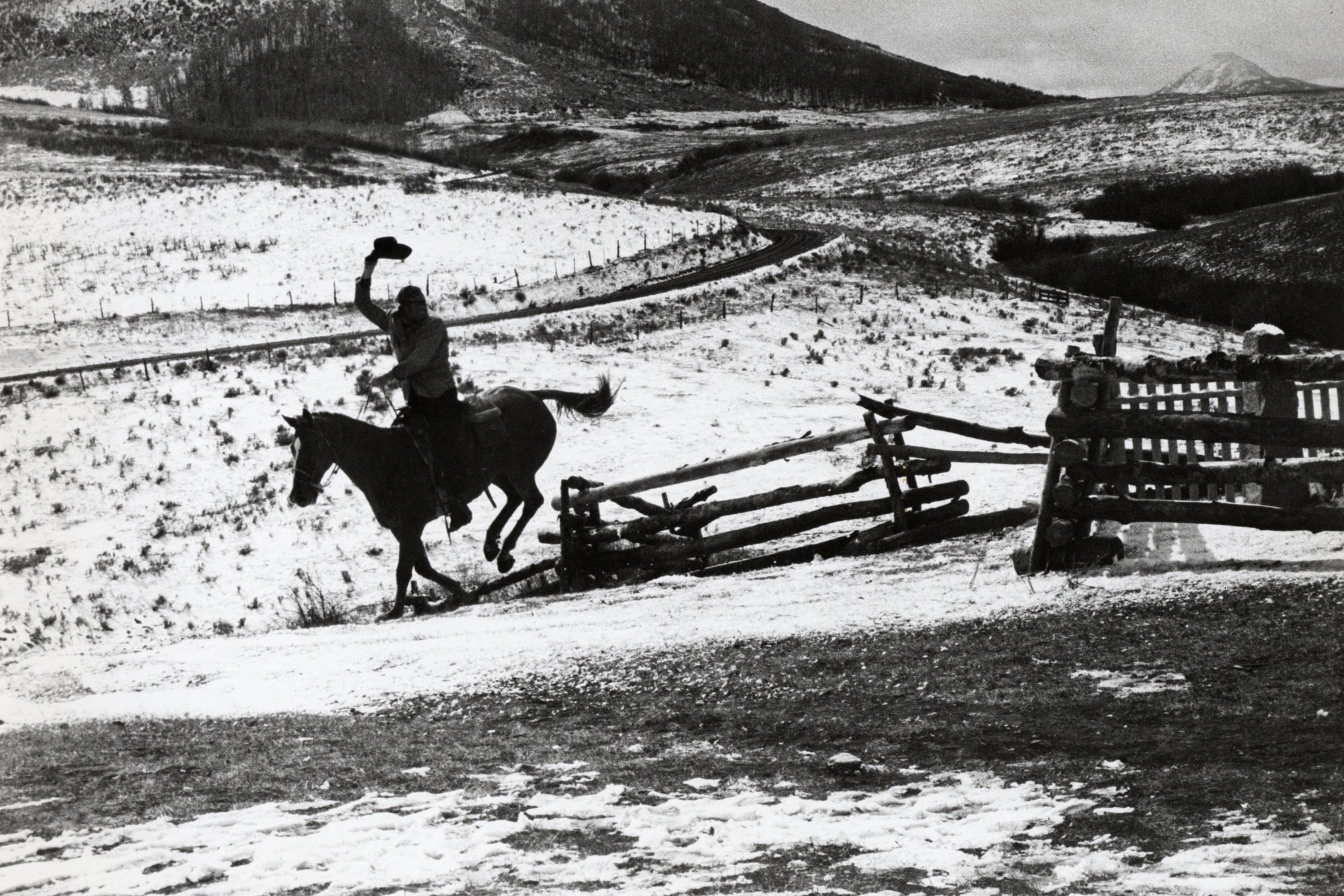 John Wayne on the set of  True Grit  in Ridgway, Colorado