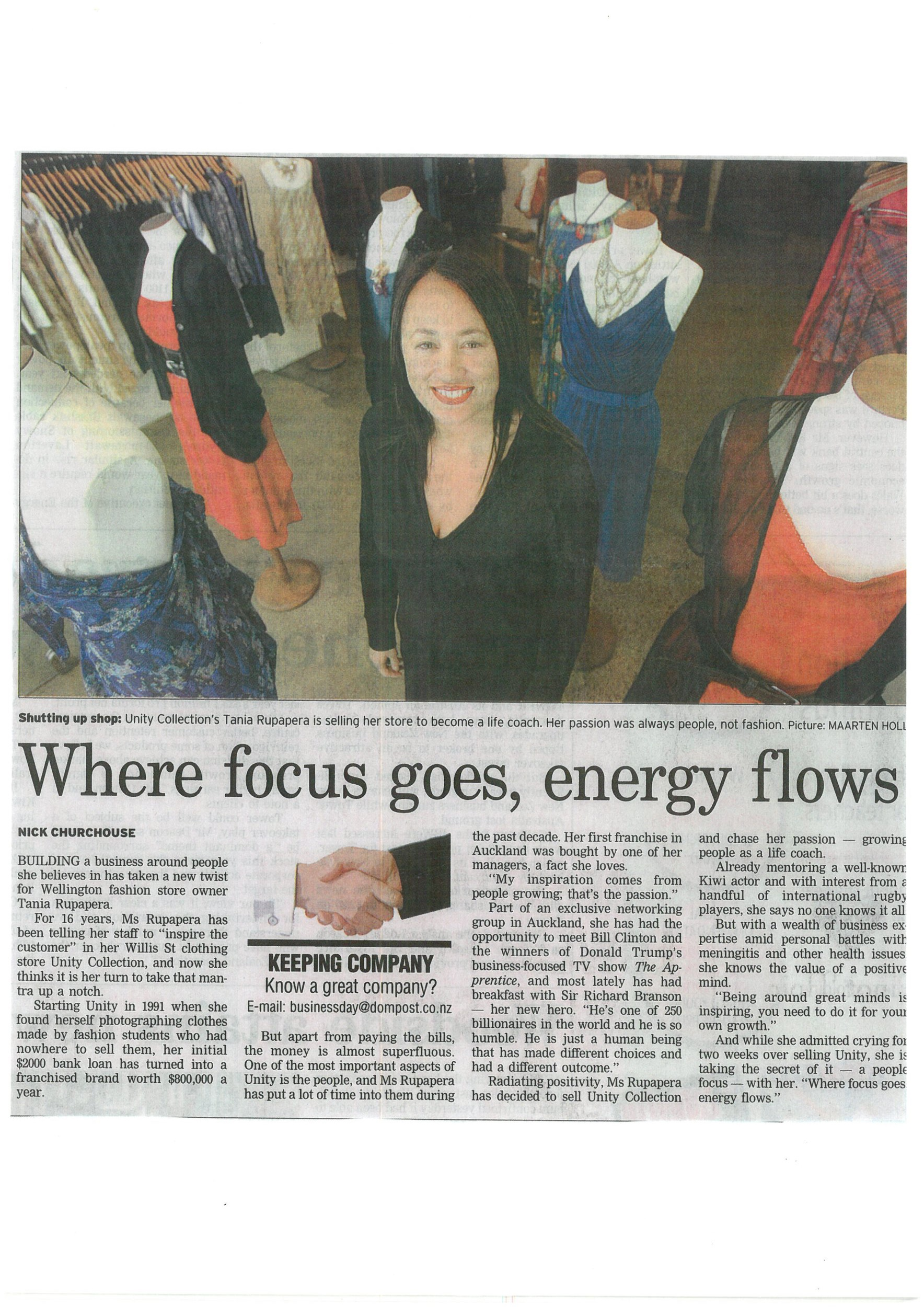 Dominion post - Where focus goes, energy flows. Interview for business section of Wellington Dominion Post.
