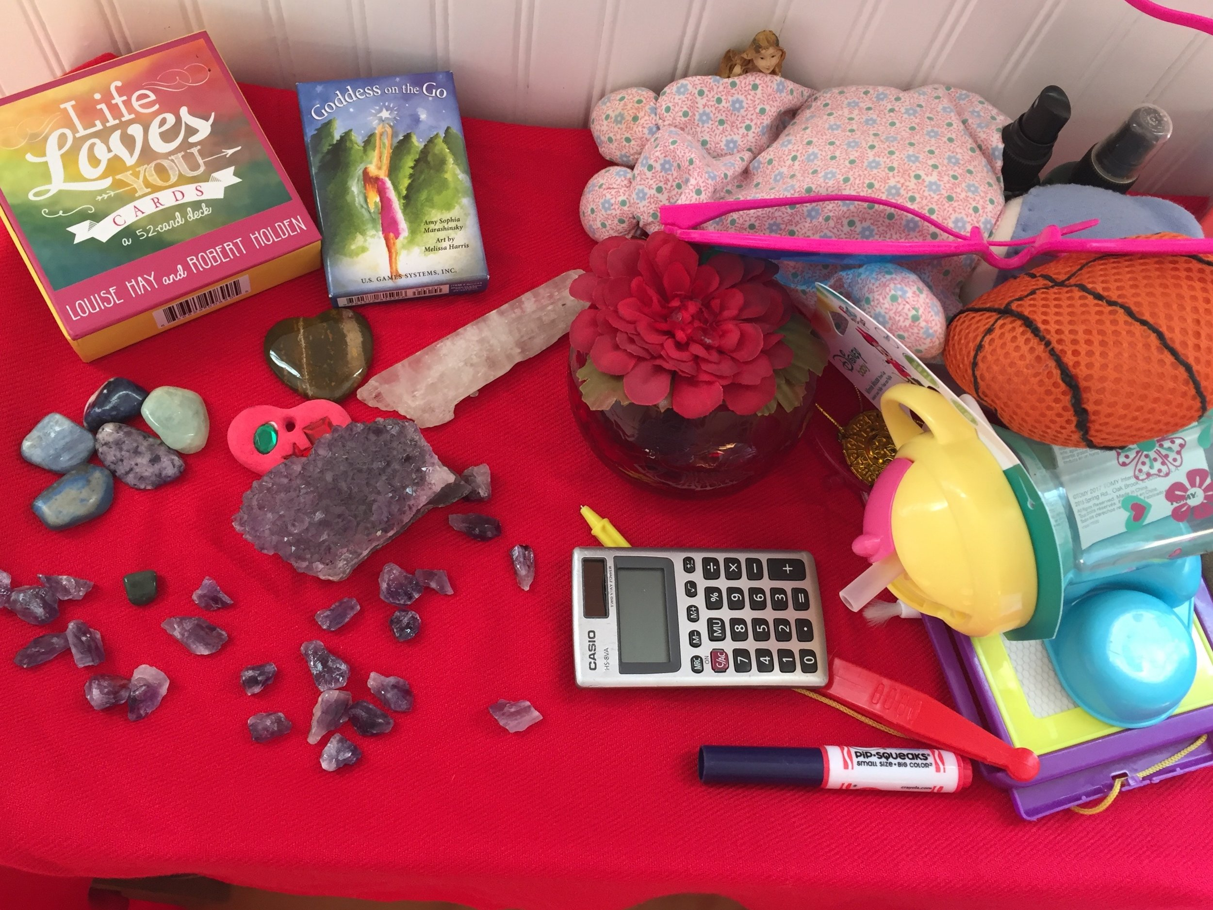 "my daughter's ""contributions"" to one of my workshop altars"