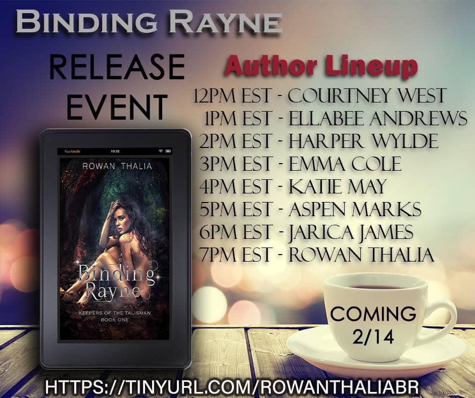 And Also on Valentine's day on of my best Bitches has her DEBUT BOOK RELEASE PARTY! I'll be in and out of it all day supporting Rowan Thalia on the release of #Binding Rayne which is the first book in the series. She has already written the whole series so it is rapid release to a kindle near you. It's hot, steamy, sexy, and spooky!  She is called the Smut Queen for a reason! Come join the party and win stuff !  https://www.facebook.com/events/528169764340810/