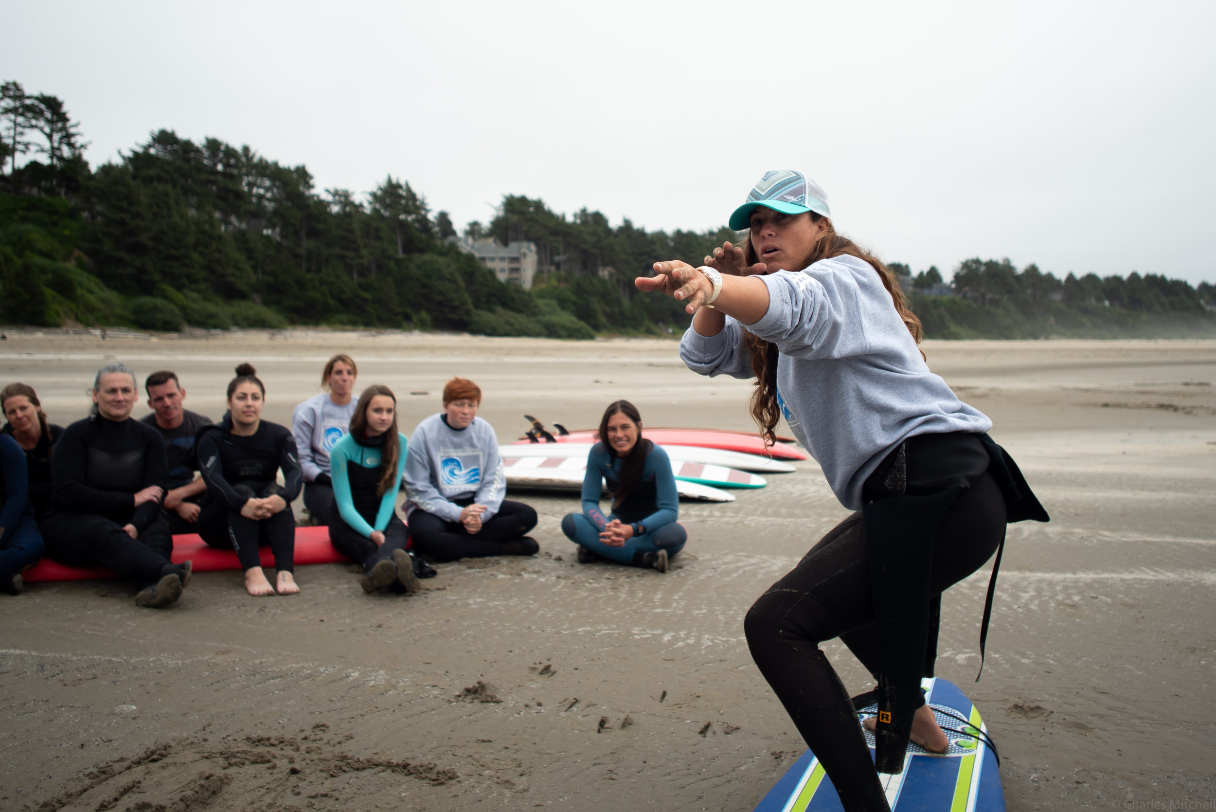 Kelly Potts teaching a surf lesson.