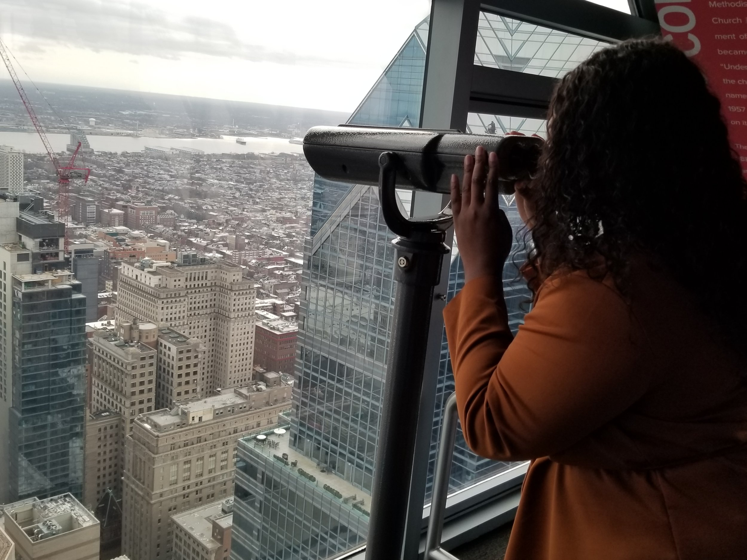 What better way to see Philadelphia than to see it from 57 floors up? As a person who is terrified of heights, it wasn't as scary as it looks. Included in your ticket is a guided tour available every hour that will give you more history and also point out some of the monuments from far up.