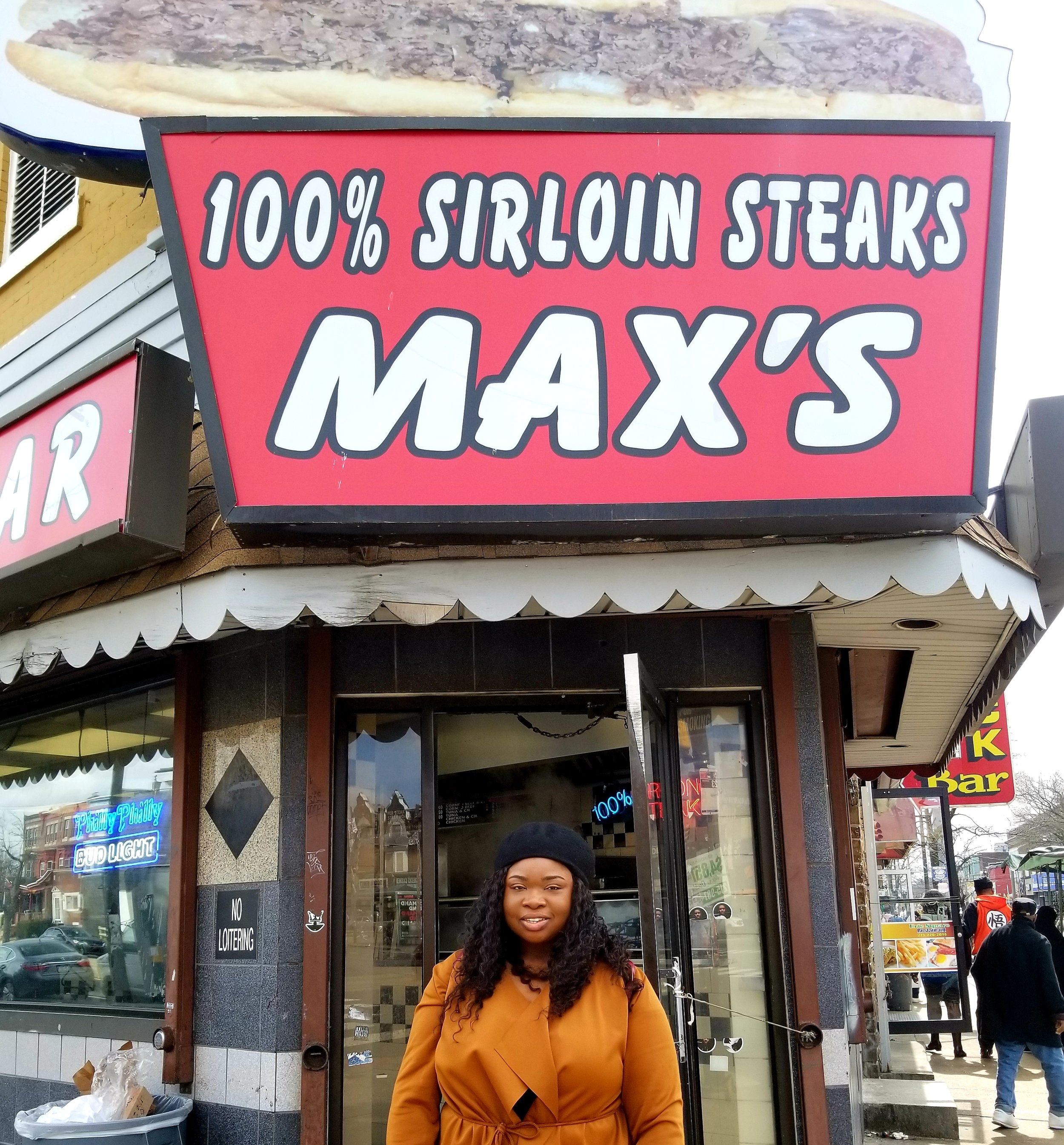 "After asking several Philadelphians where to get the best cheesesteak they all recommended Max's. We arrived around 12 pm for lunch and luckily there was a short line. Everyone was so friendly and it didn't take long for our cheesesteak to come out. I would recommend if you decide to go to stop by a corner store to get a drink. Max's only had beer options and a random grape juice in the back. Make sure you order it ""Homie Style"", still not sure what that is but all of the locals were ordering it. Max's is cash only."