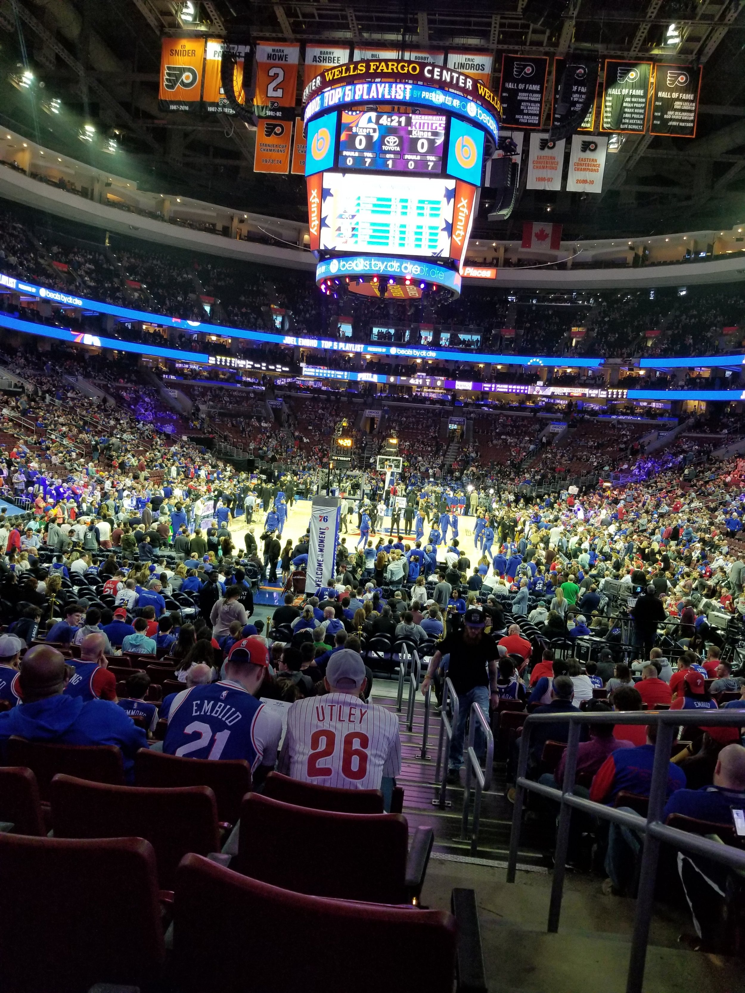 I'm not a basketball fan, but since we didn't have anything plannedwe decided to go to the 76ers home game against the Kings. These great seats were only $125 each.